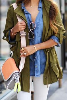 Denim fitted style button up, layered with green utility jacket, white pants By olloo