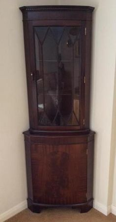 Mahogany Corner Glass Display Cabinet