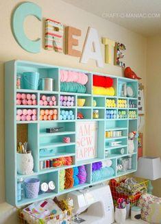 Craft Room Organization & Inspiration - Yarn Holder - Craft Storage and Craft Organization Ideas - Craft Room Decor, Craft Room Design, Craft Room Storage, Craft Organization, Organizing Crafts, Bedroom Crafts, Paint Storage, Closet Organization, Storage Shelves