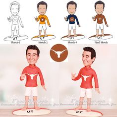 UT Longhorn Surfer Theme 40th Birthday Party Cake Toppers