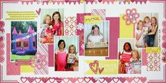 Scrapbook Layout Page Idea using several Border Maker cartridges.  The new Banner Chain runs across the top and the Double Heart Chain decorates the bottom of this two page layout.