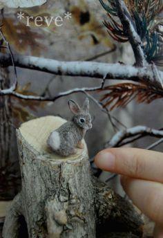 Miniature Cottontail Rabbit * Handmade Sculpture * by ReveMiniatures.deviantart.com on @deviantART