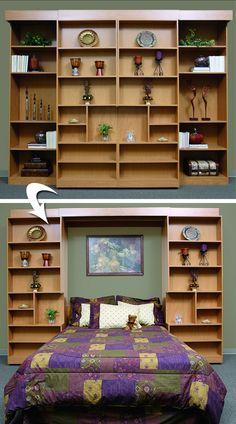 That's the magic behind the Murphy bed, a space-saving miracle that makes room where you need it - in the home office, den, Murphy Bed Bookcase, Cama Murphy, Murphy-bett Ikea, Diy Bett, Bed Shelves, Modern Murphy Beds, Hidden Bed, Murphy Bed Plans, Bed Wall