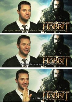 "Winner of the cuteness award ""I don't really know what a meme is."" -Richard Armitage (gif) awww"