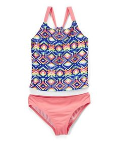 4ddc2011e4617 Another great find on  zulily! Coral Geometric Tankini - Girls  zulilyfinds  Tankini
