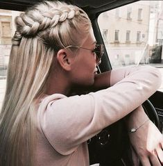 blonde braided crown hairstyle