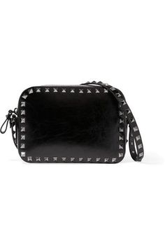 Valentino - The Rockstud Patent-leather Shoulder Bag - Black - one size