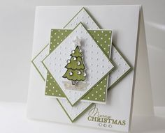 handmade Christmas card from Stamp with Heather ... luv the medallion with astack of squares making a geometric graphic ...