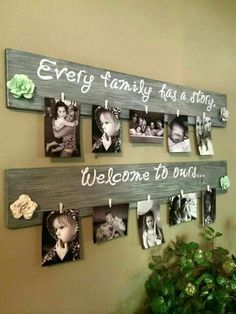 Mini clothespin sign- to change pictures more frequently