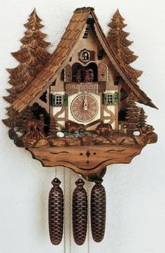 23in Bears & Water Wheel 8 Days Musical Chalet German Black Forest Clock by Schneider