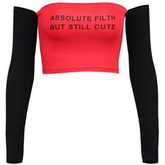 Absolute Filth Off Shoulder ($18) ❤ liked on Polyvore featuring tops, crop top, shirts, crop, shirt crop top, crop tops, off-shoulder crop tops, off-shoulder tops and cropped shirts