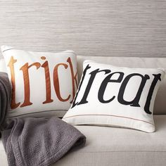 Halloween Pillow Covers - Trick or treat? Or maybe both? You decide. Embroidered and appliquéd on white cotton canvas, our pillow covers make a whimsical Halloween statement, especially when displayed together.
