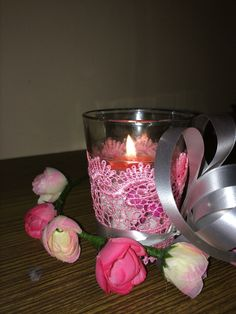 #pink #tablepiece #candle