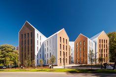 Construido en 2016 en Amherst, Estados Unidos. Imagenes por Christian Phillips. Para este proyecto de hospedaje estudiantil desarrollado en la histórica Amherst, Massachusetts, Holst hizo referencia a la arquitectura académica...