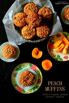 FRESH PEACH MUFFINS {WITH A CRUNCHY OATMEAL STREUSEL TOPPING}. It's not too late to enjoy this summer fruit in muffin form with a lovely, crumbly oat topping. Great for a snack, a lazy breakfast or brunch. #happyandharried #peach #stonefruit #muffin #recipe #oats #oatmeal #streusel #topping #brunch #breakfast #snack #summer