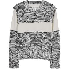 Maison Margiela Ivory textured-knit cotton jumper ($795) ❤ liked on Polyvore featuring tops, sweaters, cotton knit sweater, ribbed sweater, ivory top, winter white sweater and jumper top