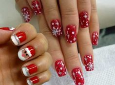 Black N Red Christmas Nails Nails Pinterest Red Christmas
