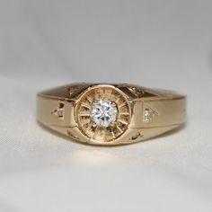 Vintage Estate 14k YG Diamond Ring, .31 CTW, Size 9, Men's Ring from jenandivintagejewels on Ruby Lane