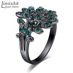 2016 High Quality Fashion Women Rings Crystal Peacock Ring Silver Plated Black Rhinestone CZ Cute Vintage Peacock Feathers Rings #Affiliate
