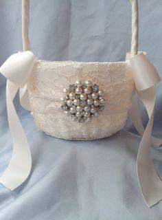 Ivory Flower Girl Basket Flower Girl Basket Pearl by Allofyou