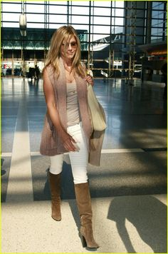 School Outfit: Jennifer Aniston  Note: The sweater jacket looks great over the top of the cami