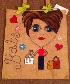 Personalised cute jute tote bags individually handcrafted and made to order