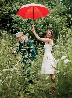 Plum Sykes Home | Sykes (in an Oscar de la Renta dress) and her husband, Toby Rowland, surrounded by teasels and cow parsley in the couple's wildflower garden. Photographed by François Halard, Vogue, November 2016.