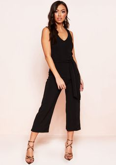 4574ad4f52c3e2 Missyempire - Reva Black Ribbed Belted Culotte Jumpsuit Going Out