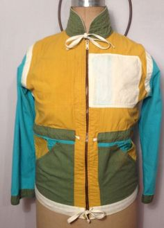 Vintage Jak Pac Artist Jacket Blue and Yellow Retro RARE Size Small #JakPac #LightZipUp #Retro #oneofakind