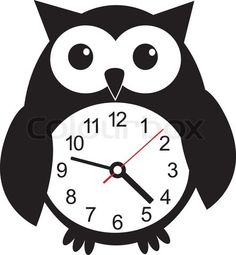 Stock vector of 'Cute wall clock owl sticker Colorful vector illustration'