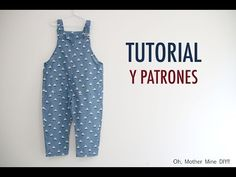 Free overalls pattern & video tutorial - Oh, mother mine! Sewing Baby Clothes, Baby Sewing, Doll Clothes, Baby Girl Patterns, Baby Clothes Patterns, Kids Robes, Baby Frocks Designs, Baby Fashionista, Romper Pattern