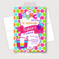 Bounce House Invitation or Thank You Card by PinkPickleParties, $10.00