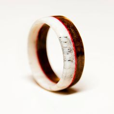Antler and Wood Ring with Red Colored Veneer by StagHeadDesigns, $100.00