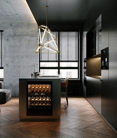 Dark Apartment in Moscow - Dezign Ark (Beta) Minimal House Design, Modern Kitchen Design, Interior Design Kitchen, Modern Interior Design, Loft Interiors, Küchen Design, Bars For Home, Decoration, Home Decor