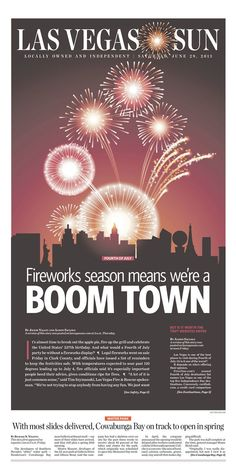 This Fourth of July piece conveys celebration brilliantly. Using fireworks, full-color printing and bold typography, designers at Las Vegas Sun went all out with a composition that would truly stand out in any newsstand.