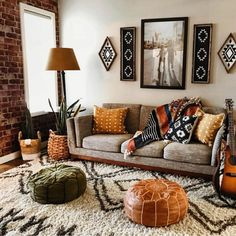 Boho Chic Living Room, Casual Living Rooms, Small Living Rooms, Living Room Designs, Living Room Decor, Bohemian Living, Bohemian Bedrooms, Cozy Living, Bohemian Decor