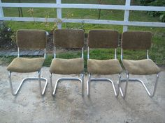 Set of 4 Retro Chrome Tube Cantilever Chairs with Leopard Print Upholstry | eBay