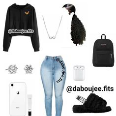 Swag Outfits For Girls, Boujee Outfits, Cute Lazy Outfits, Cute Swag Outfits, Girls Fashion Clothes, Teenage Girl Outfits, Teen Fashion Outfits, Dope Outfits, Retro Outfits