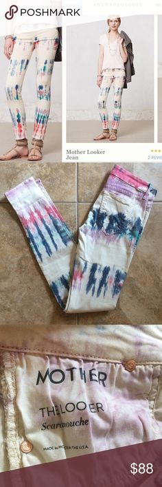 Anthropologie Mother The Looker Tie Dye Pants 25 Sold out!  Retail $196.  Anthropologie Mother The Looker Scaramouche skinny pants!  Amazing cotton/elastane blend; sooo incredibly soft.  Adorable fit.  Beautiful off white/slight grayish hue with bold tie dye sections.  5 star reviews.  I adore these, not sure I can get them go yet!  Mother prides itself on nailing the four f's of denim: fit, fabric, finish and feel. Anthropologie Pants Skinny