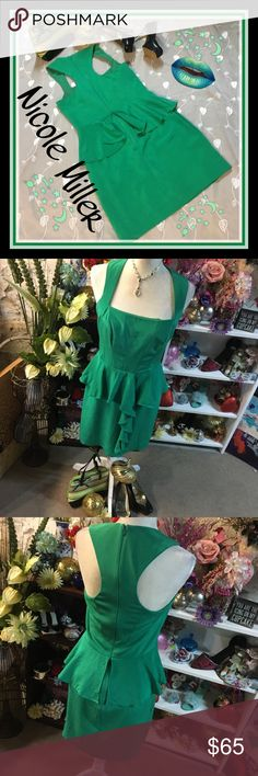"""Nicole Miller shamrock green cocktail dress Excellent used condition. With a few faint stains unnoticeable to the eye ..sure that should wash out...16"""" bust 35"""" length . Tag with material faded but otherwise plenty of life in an absolute gorgeous eye stunning green dress you could fit a larger medium as well as large☘️ Nicole Miller Dresses"""