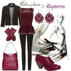 """Chocolate & Raspberries"" by lapetiteamelie on Polyvore"