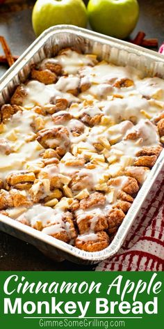 Easy and delicious Monkey Bread stuffed with tender, juicy apples and topped with icing. This Apple Monkey Bread on the grill is perfect for camping or mornings when you don't want to heat the house up! You can also make it in the oven! #apple #breakfast #recipe #easy #easyrecipe #monkeybread #cinnamon #brunch #grill #grilled #grilling #camping #campingrecipes #gimmesomegrilling