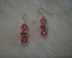 "Earrings Made with Swarovski Crystals - Rose 1""1/2"