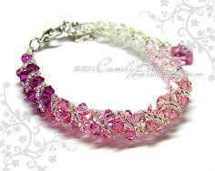 Swarovski bracelet, Rose shade twisty Swarovski Crystal Bracelet by CandyBead