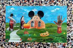 A casa do Mickey - collage sobre MDF – 2016 - colagem de Silvio Alvarez - arte, art, collage, colagem, collage art, collage artist, paper, papel, revistas, recortes, sustentabilidade, reciclagem, reaproveitamento, arte ambiental, brazilian art, silvio Alvarez, surrealism, surrealismo, surreal, collagework, mickey, infantil, alimentacao, crianca, saudavel, refrigerante, hambuerguer, sanduiche, calorias, obesidade infantil, obesidade, consumo, consumismo,