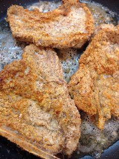 ALMOND FLOUR FRIED PORK CHOP DINNER. Fried in Coconut Oil