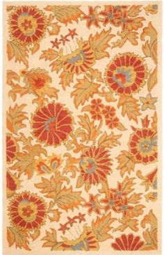 Amazon.com: Safavieh Blossom Collection BLM912B Handmade Ivory and Multi Hand-Spun Wool Area Rug, 8-Feet by 10-Feet: Furniture & Decor