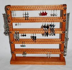 Double-sided stand - up to 240 pairs . Necklace Holder, Jewelry Holder, Jewelry Necklaces, Jewelry Storage, Shelf, Unique Jewelry, Handmade Gifts, Earrings, Vintage