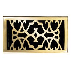 "This polished brass finish solid brass floor register heat vent cover with a victorian scroll design fits 6"" x 10"" x 2"" duct openings and adds the perfect accent to your home decor."