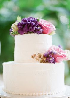 A classic cake with beautiful jewel tone blooms!